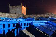 Essaouira Vista di sera dal porto con le barche blu
