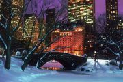 New York - Central Park con neve di notte