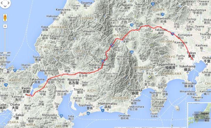 la strada di Nakasendo da Kyoto a Tokyo